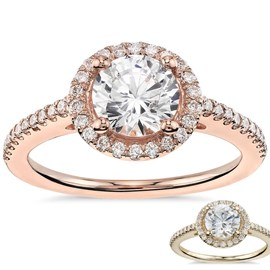 Classic Halo Diamond Engagement Ring In 18k Rose Or Yellow Gold *setting only