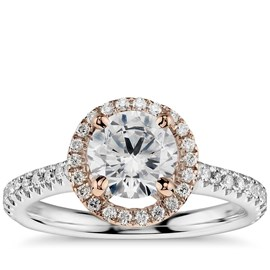 Two Tone Halo Diamond Engagement Ring *setting only